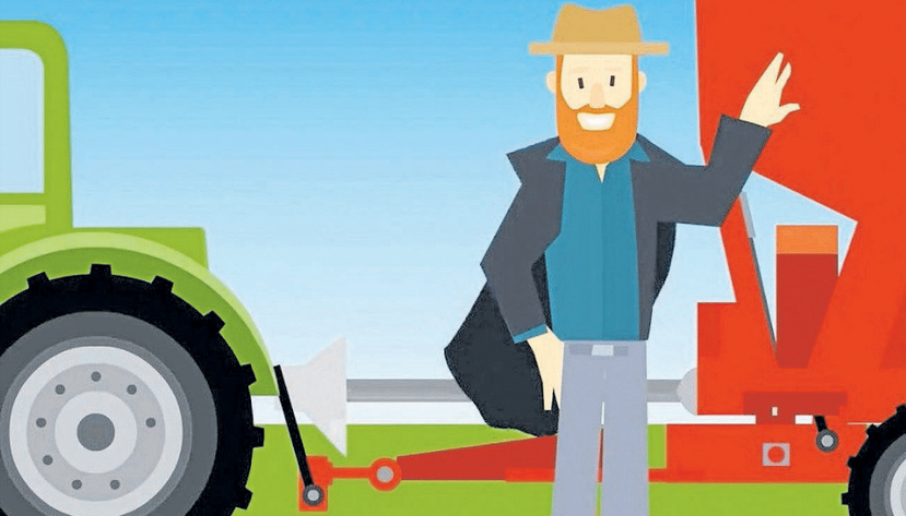Cartoon image of a farmer standing next to a tractor and trailer