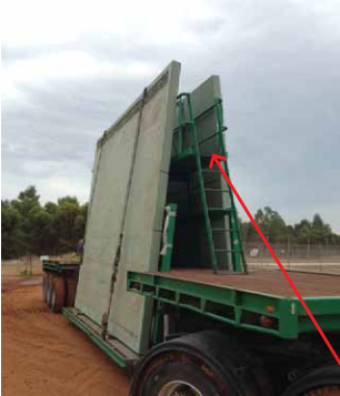 Precast panels on the back of a truck