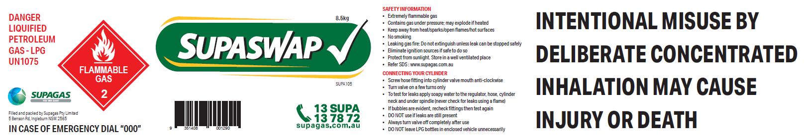 Compliant gas cylinder label - Quick Swap