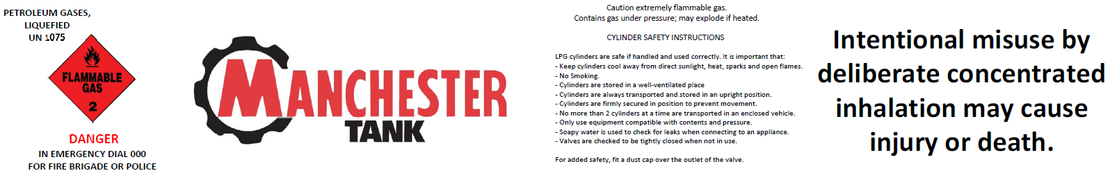 Compliant gas cylinder label - Manchester