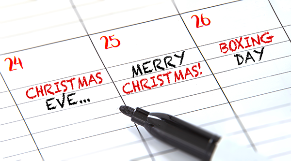 Calendar showing 24, 25 & 26 December