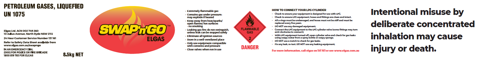 Compliant gas cylinder label - Elgas