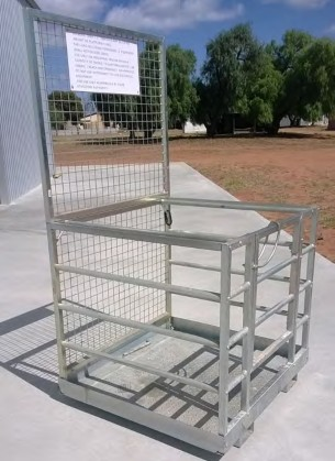 A work platform specifically designed for mounting on the elevating device of a high-lift fork truck.