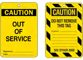 Example of an 'Out of Service' tag