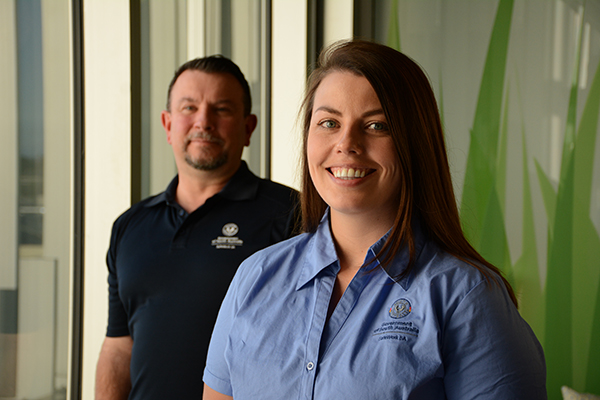 Two SafeWork SA Inspectors in summer uniforms