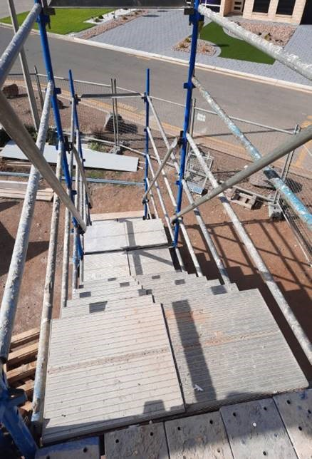 Scaffold stairs used on a residential construction site
