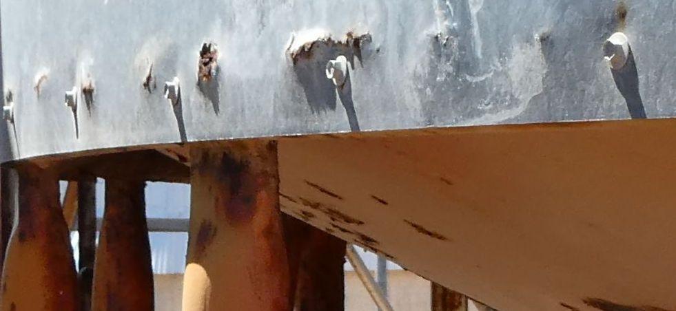Corroded area of a grain silo